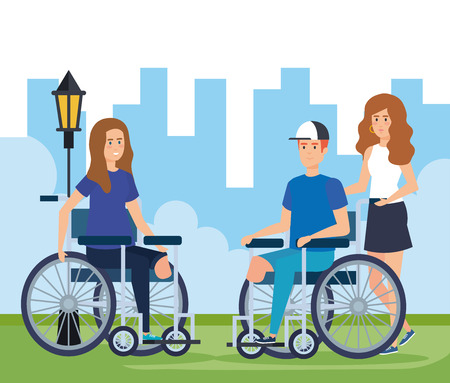 woman and man sitting in wheelchair without leg vector illustration