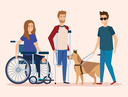 disabled people healthcare and physical injury vector illustration