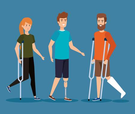 hommes handicapés avec réadaptation physique de l'illustration vectorielle de blessure