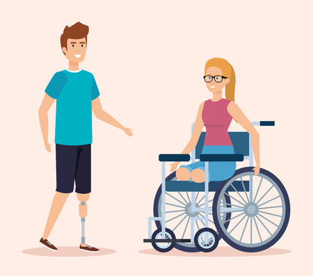 disabled woman sitting in the wheelchair with physical injury vector illustration Illustration