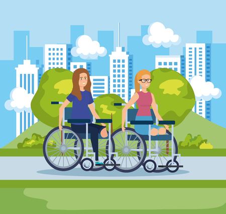 women sitting in wheelchair without legs and cityscape vector illustration
