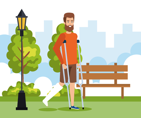 man walking with crutches and leg fracture vector illustration