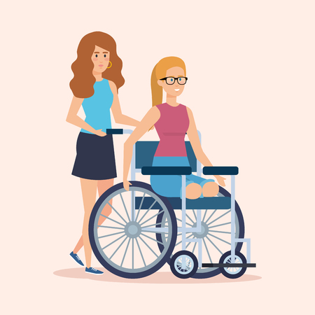 person with woman sitting in the wheelchair without legs vector illustration