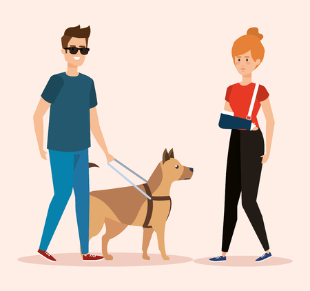 man blind with dog and woman with hand fracture vector illustration  イラスト・ベクター素材
