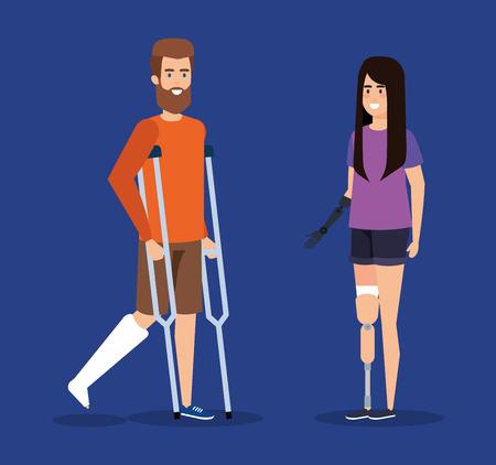homme avec des béquilles et femme avec illustration vectorielle de prothèse de main Vecteurs