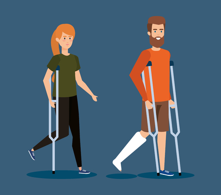 disabled woman and man walking with crutches vector illustration