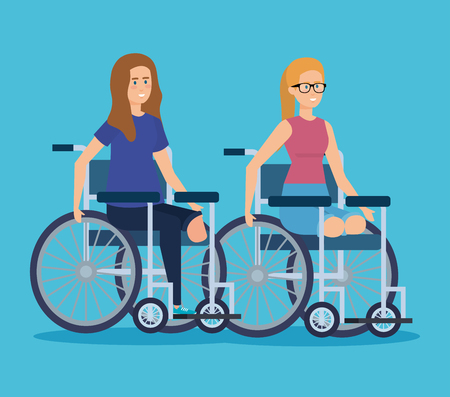 disabled women sitting in the wheelchair without legs vector illustration Illustration