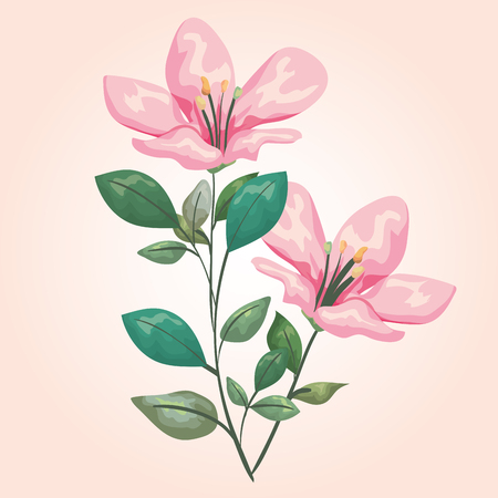 exotic flowers plants with branches leaves vector illustration Çizim