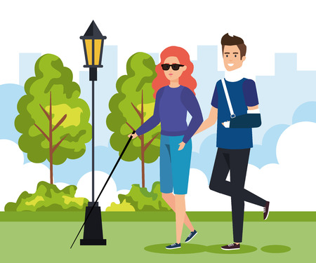 woman blind walking with stick and man with hand fracture vector illustration Stock Illustratie