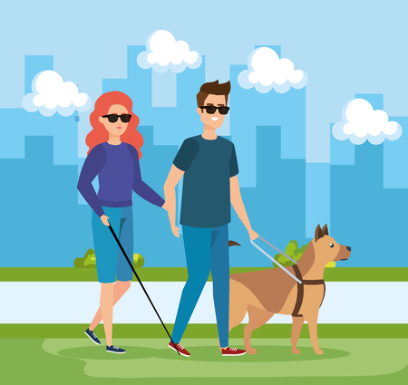 woman and man blind wearing sunglasses and dog vector illustration