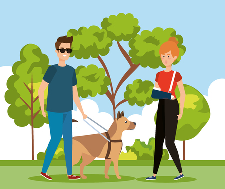 woman with hand frature and man blind with dog vector illustration