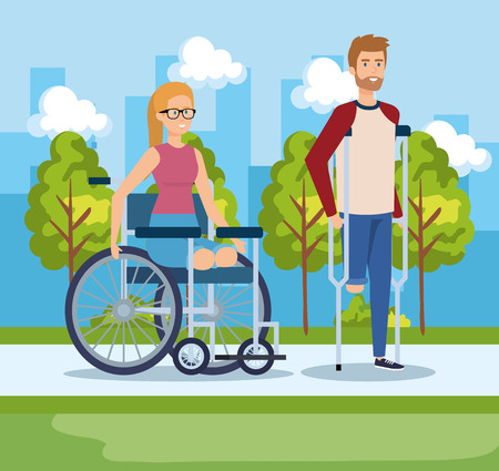 woman sitting in wheelchair and man walking with crutches vector illustration