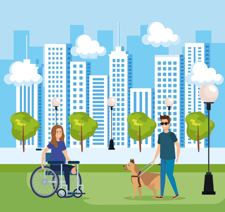 man blind with dog and woman sitting in wheelchair vector illustration