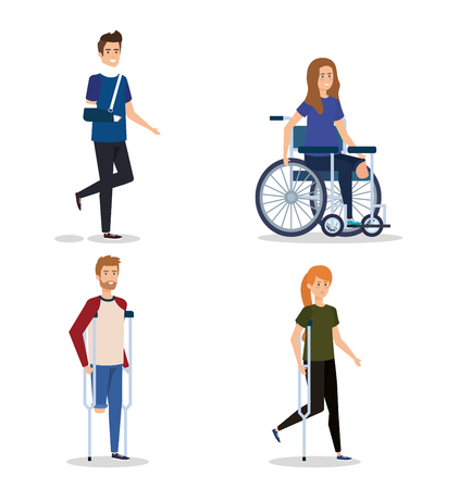 set people with disabled and physical injury vector illustration Ilustracja