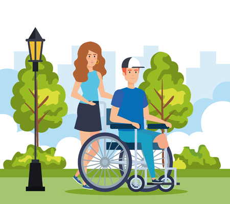 disabled man sitting in wheelchair without leg vector illustration Illustration