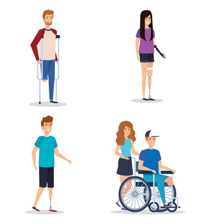 set people with physical injury and disabled vector illustration