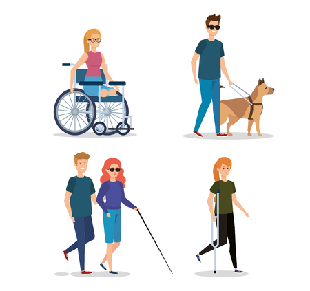 set rehabilitation people with disabled and physical injury vector illustration