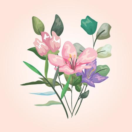 botanische Blumenpflanzen mit Zweigen verlässt Vektorillustration