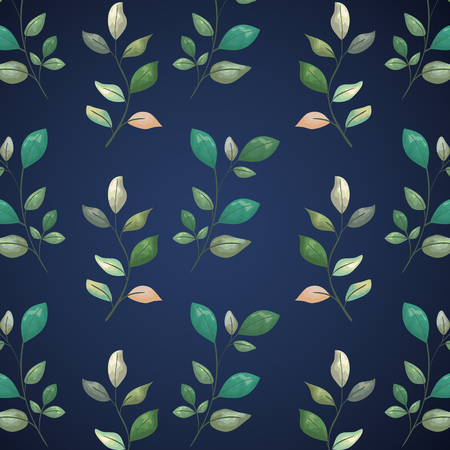 exotic branches leaves plants design background vector illustration