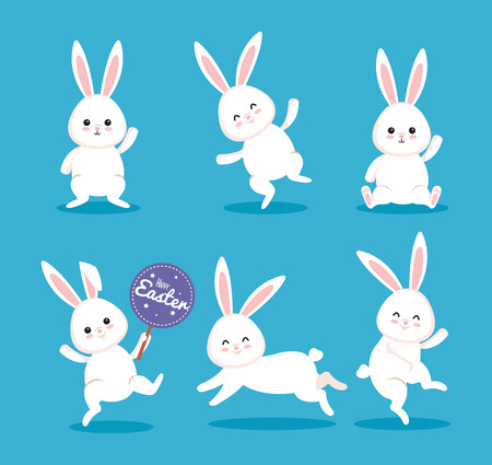 set happy rabbit celebration with sticker notice vector illustration