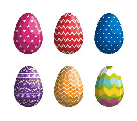 set easter eggs figures decoration vector illustration