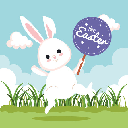 happy rabbit celebration with sticker notice vector illustration