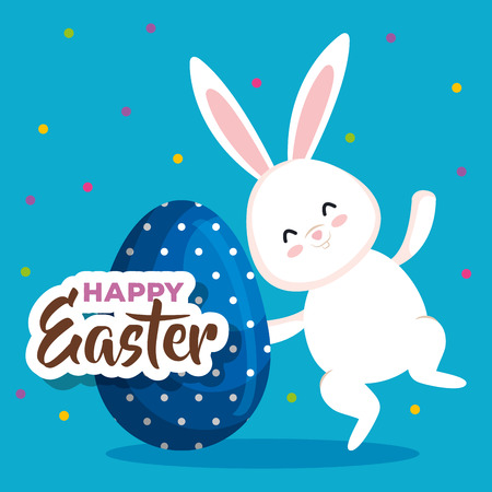happy rabbit with easter egg and points decoration vector illustration