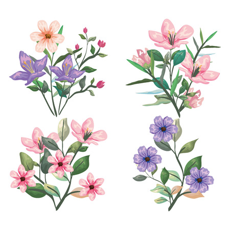 set exotic flowers plants and botanic leaves vector illustration 向量圖像