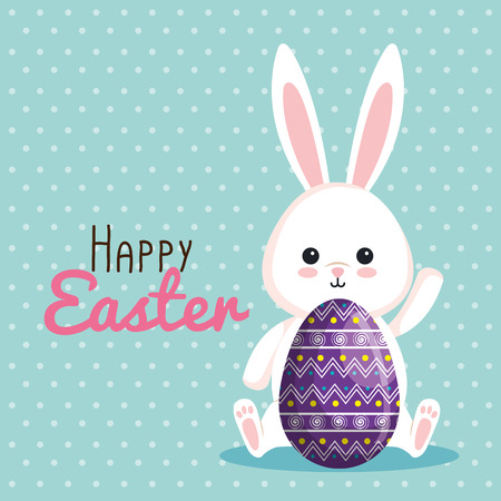 cute rabbit with egg decoration to event vector illustration