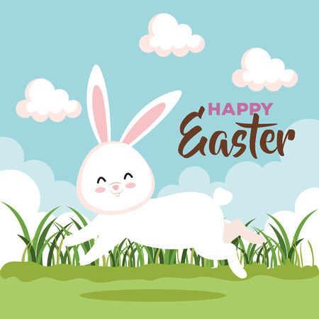 easter rabbit running to celebration event vector illustration