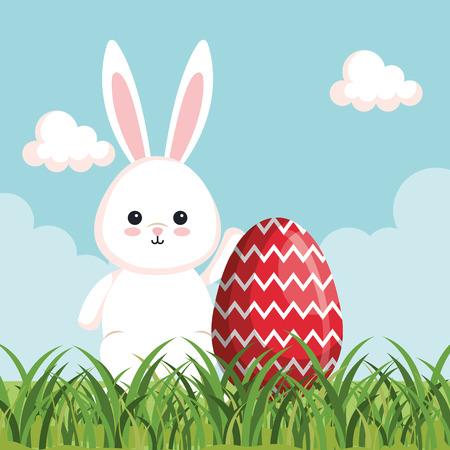 happy rabbit celebration with egg decoration vector illustration