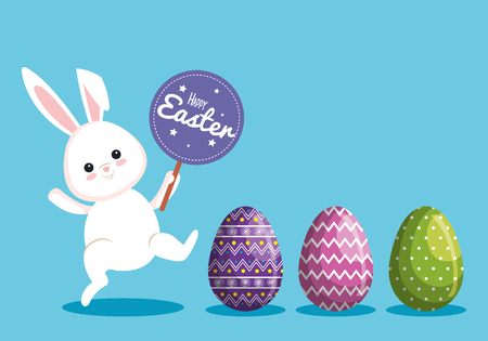 happy rabbit with sticker notice and easter eggs vector illustration Archivio Fotografico - 124667494