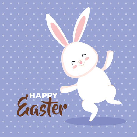 cute rabbit jumping to easter celebration vector illustration