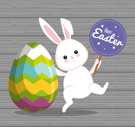 rabbit with easter egg and sticker notice vector illustration Ilustrace