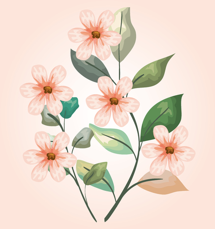 nature flowers plants with branches leaves design vector illustration