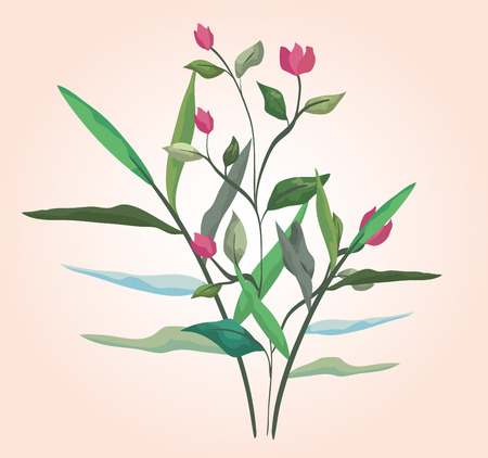 nature flowers plants with branches leaves vector illustration