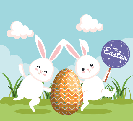 easter rabbits dancing with egg and notice vector illustration Ilustrace