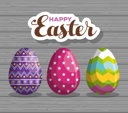 eggs with traditional figures decoration to easter event vector illustration