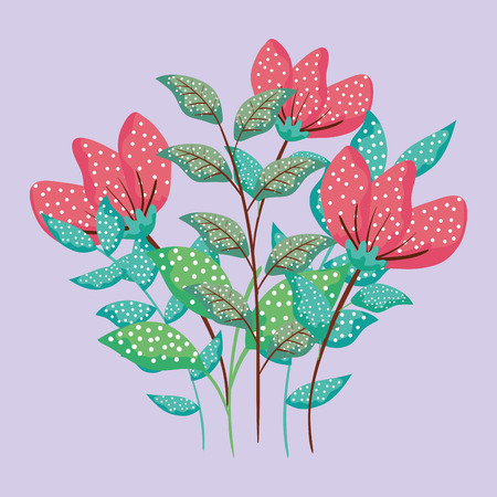 exotic flowers plants with leaves style vector illustration Çizim