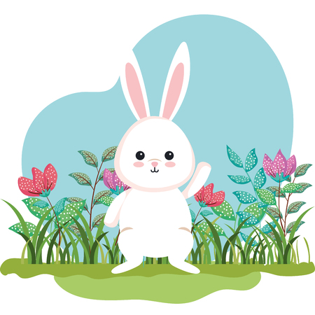 cute rabbit animal and flowers plants with leaves vector illustration