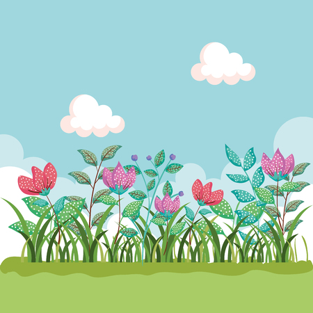 natural flowers plants with branches leaves and grass vector illustration 向量圖像