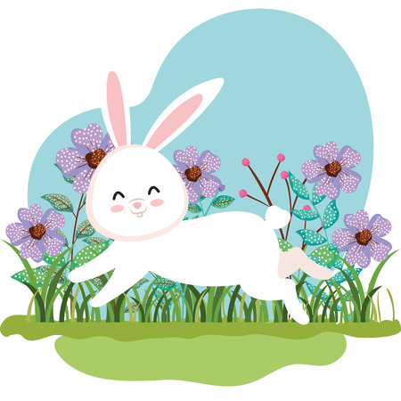 cute rabbit running and flowers plants with leaves vector illustration 일러스트