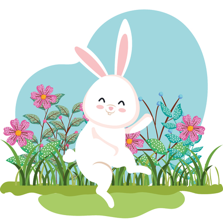 cute rabbit dancing and flowers plants with leaves vector illustration