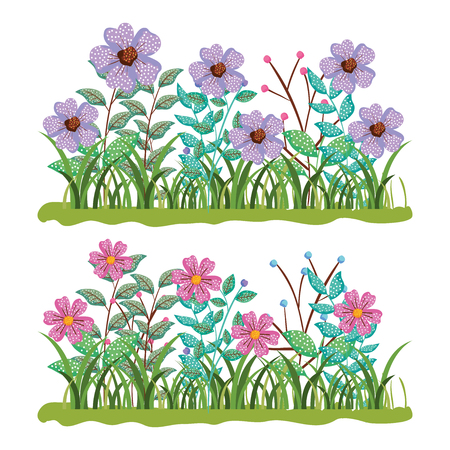 set nature flowers plants with branches leaves vector illustration