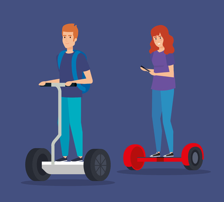 man and woman with smartphone riding electric scooter vector illustration