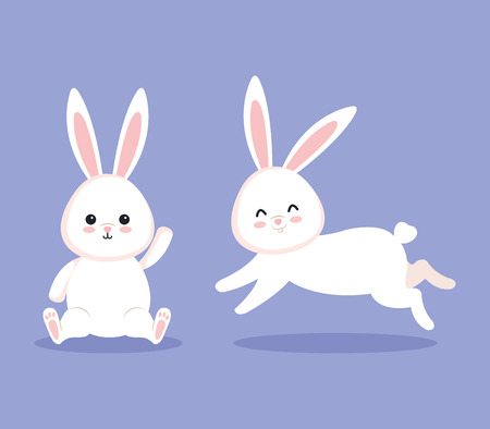 cute rabbit sitting and other running to celebration vector illustration