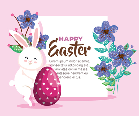 easter card with flowers and rabbit with egg decoration vector illustration