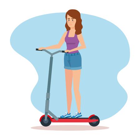Frau, die Elektroroller-Fahrzeugvektorillustration reitet