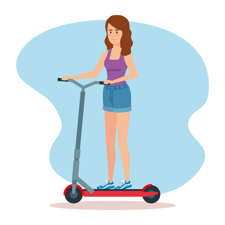 woman ridding electric scooter vehicle vector illustration