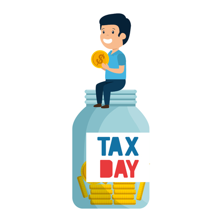 depressed man for money with tax jar vector illustration design Standard-Bild - 124667569